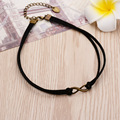 Double Layer Black Imitation Leather Velveteen Rope Punk Choker Necklace Infinity Symbol Charm Pendant Vintage Jewelry Women