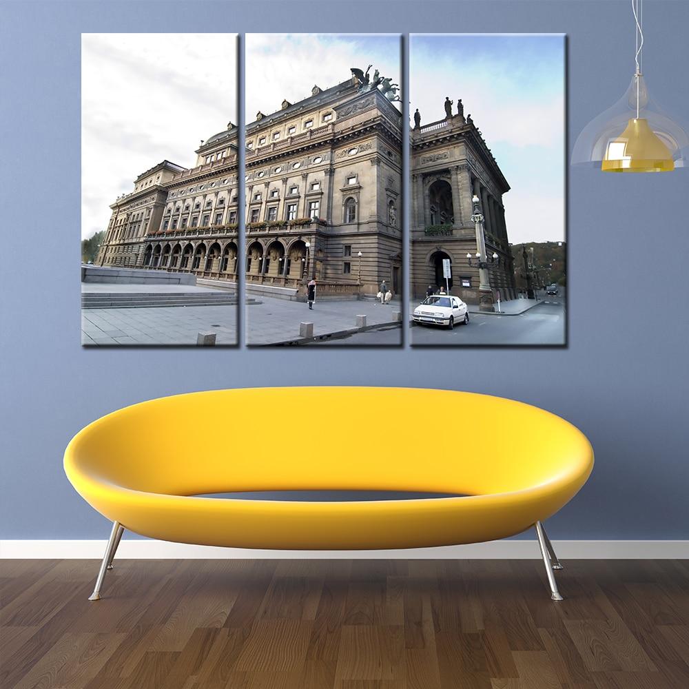 3 Pieces/sets Canvas Art Canvas Paintings Architecture 3 Panel ...