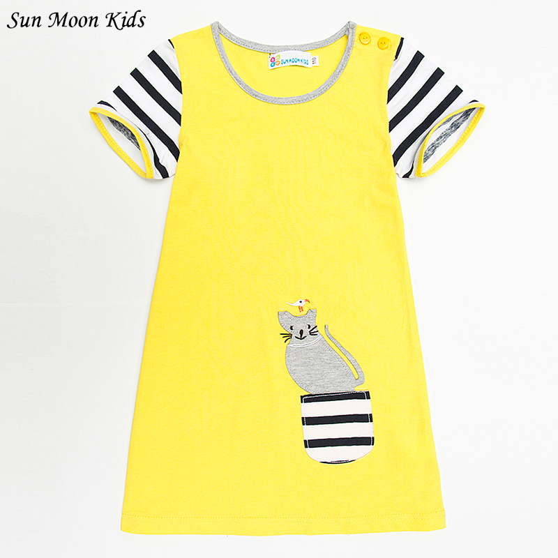 Sun Moon Kids Yellow Dress For Girls 2017 Brand Striped Children Wedding Dress European And American Straight Girls Clothes 1-6T 100% real photo brand kids red heart sleeve dress american and european style hollow girls clothes baby girl clothes