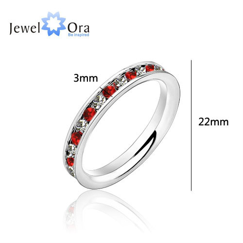 Stainless Steel Wholesale Hot Red Lady Ring 316L Titanium Stainless Steel .1Ct Eternity Ring (JewelOra Ri100196)