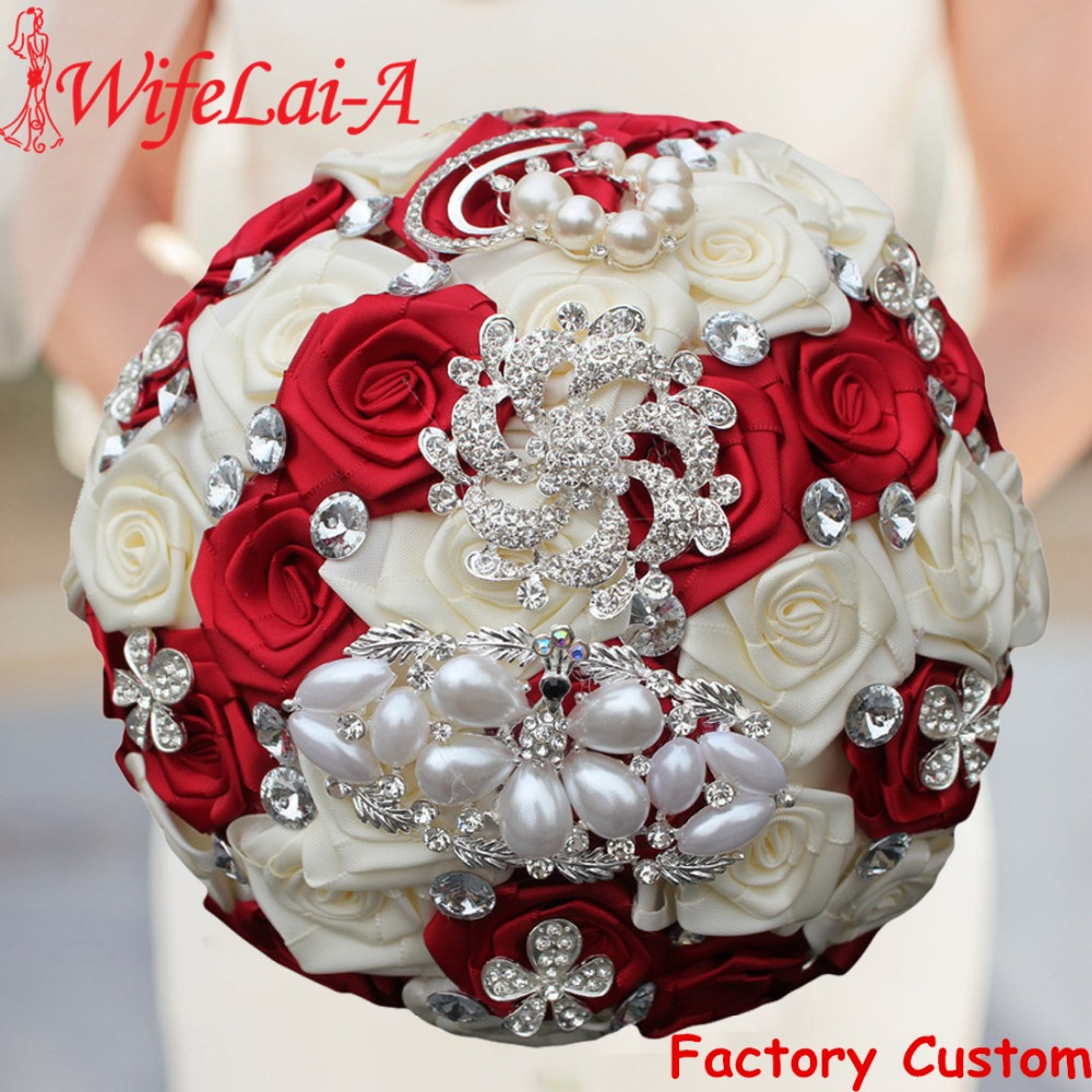 WifeLai A 1PC Custom Stunning Red Ivory Wedding Bouquet Crystal Pearl Peacock Brooch Bouquet Bridal Bouquet