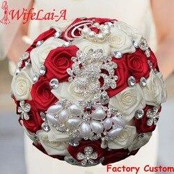WifeLai-A 1PC Custom Stunning Red Ivory Wedding Bouquet Crystal Pearl Peacock Brooch Bouquet Bridal Bouquet ramos de novia W126
