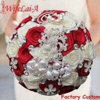 WifeLai A 1PC Custom Stunning Red Ivory Wedding Bouquet Crystal Pearl Peacock Brooch Bouquet Bridal Bouquet ramos de novia W126