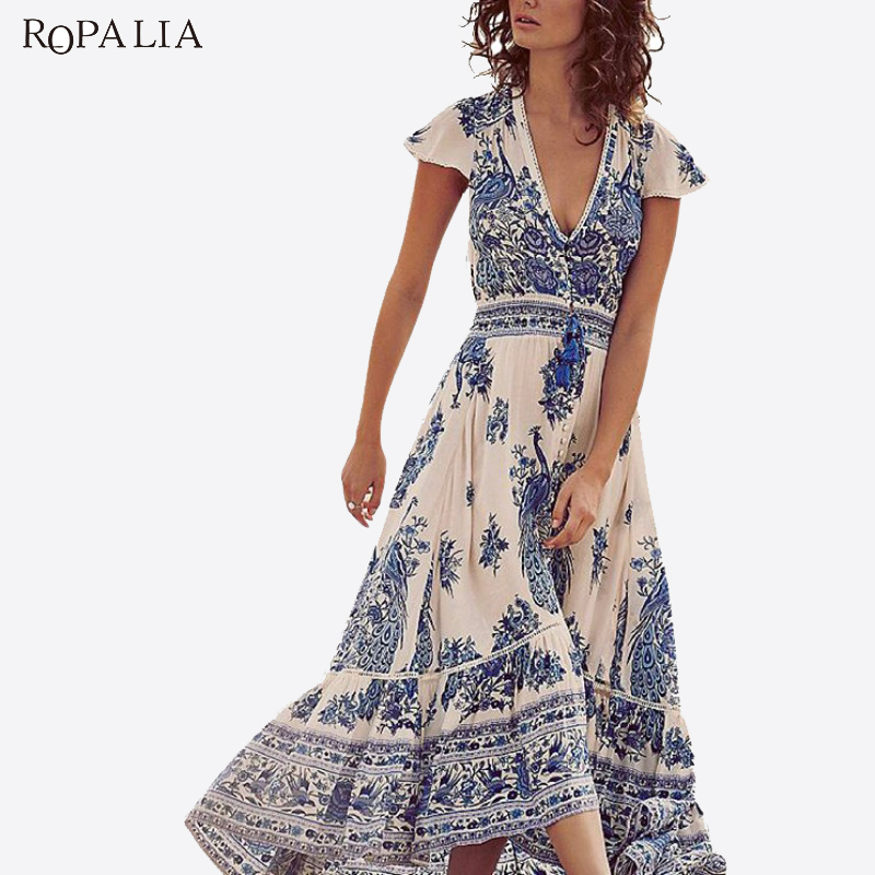 ROPALIA Chiffon Deep V Women Summer Vintage Dress Short Sleeve Gypsy Floral Hippie Boho Long Maxi Beach Split Dresses Vestido T7