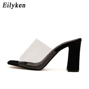 Image 3 - Eilyken夏のファッションの女性サンダル浅いローマ口女性カジュアルスクエアヒール女性厚いサンダル靴白黒サイズ 40