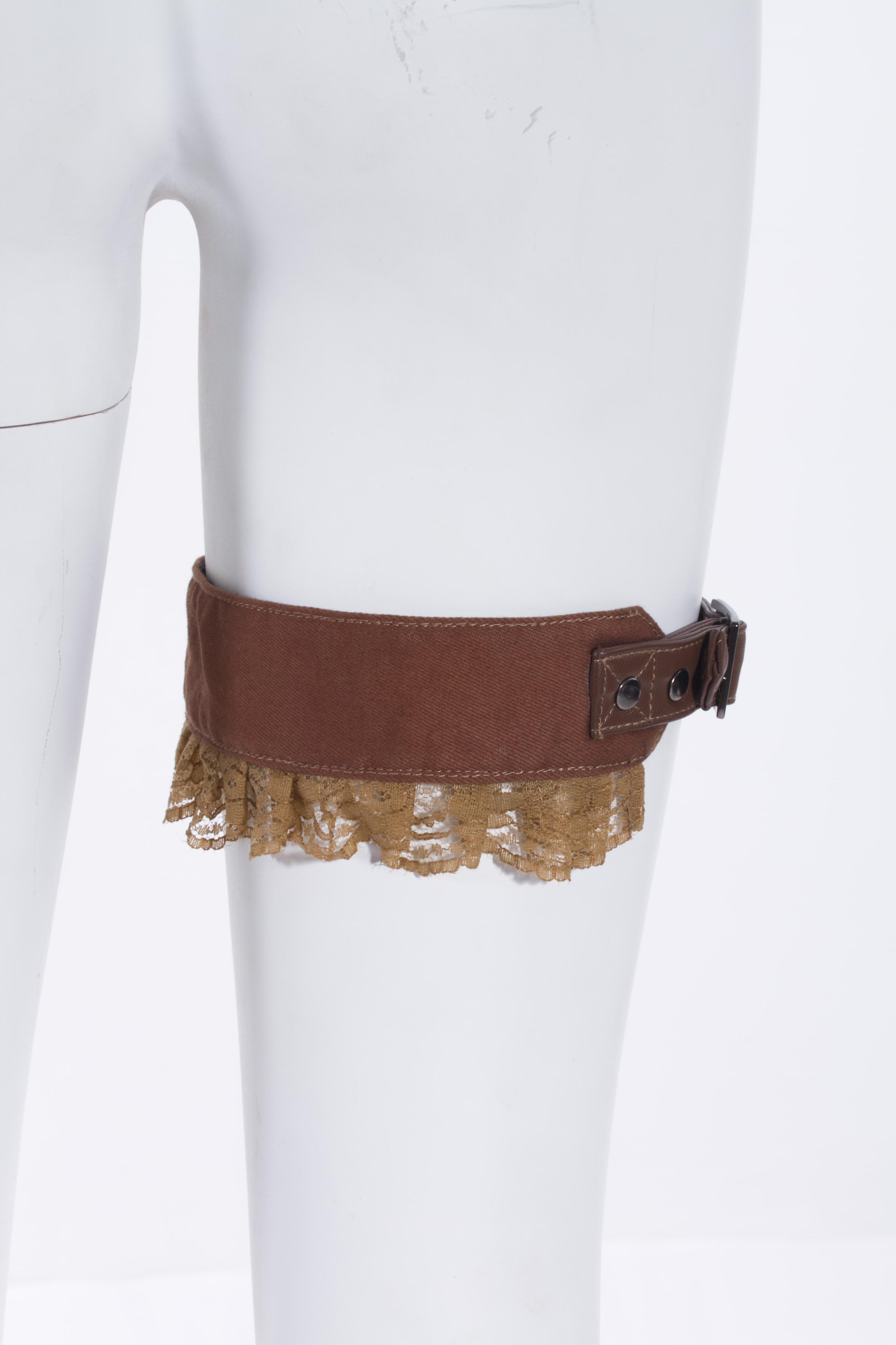 Sexy Punk chaussettes en cuir avec ceinture en dentelle marron jambe anneau cuisse bas jambe ceinture réglable femmes pour boîte de nuit fête