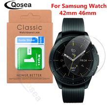 Qosea For Samsung Galaxy Watch 42mm 46mm Tempered Glass 9H Protective Film Explosionproof For Samsung Gear S3 Screen Protector 2pcs pack tempered glass screen protector watch screen protective films for samsung galaxy watch 42 46mm