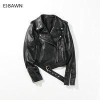 2018 Women Genuine Leather Jackets Lambskin Moto Coat Black Rivet Short Slim Fit Vintage Classic Real Sheepskin Autumn Jacket