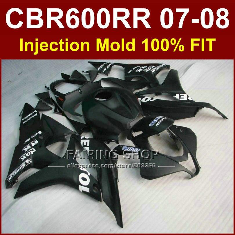 Matte black repsol Customize fairing for HONDA cbr600rr 07 08 fairings CBR600 RR OEM factory fairing kit CBR 600RR 2007 2008