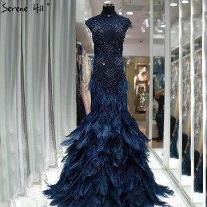 Image 1 - Dubai lüks mavi elmas boncuk abiye 2020 tüyler Mermaid kolsuz seksi abiye giyim gerçek fotoğraf LA60734