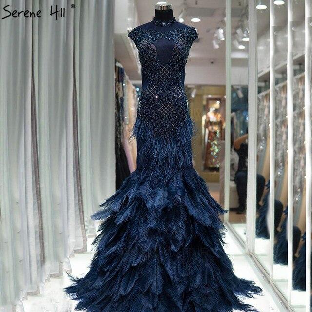 Dubai lüks mavi elmas boncuk abiye 2020 tüyler Mermaid kolsuz seksi abiye giyim gerçek fotoğraf LA60734