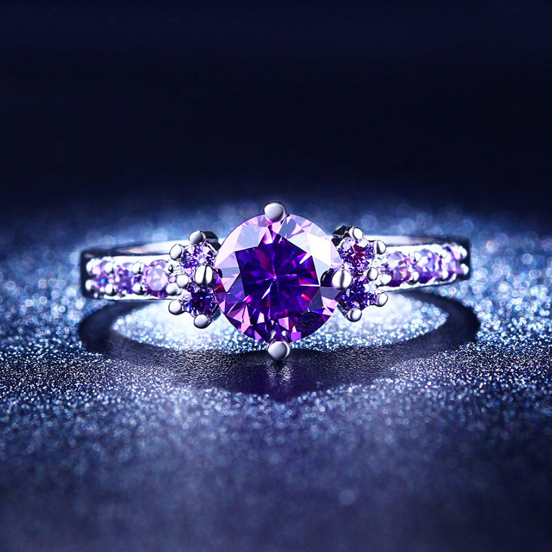 Hot Sale 1PC Round Zircon Purple Crystal Titanium Steel Women Engagement Rings Fashion Jewelry Size 6/7/8/9 Elegant Gift