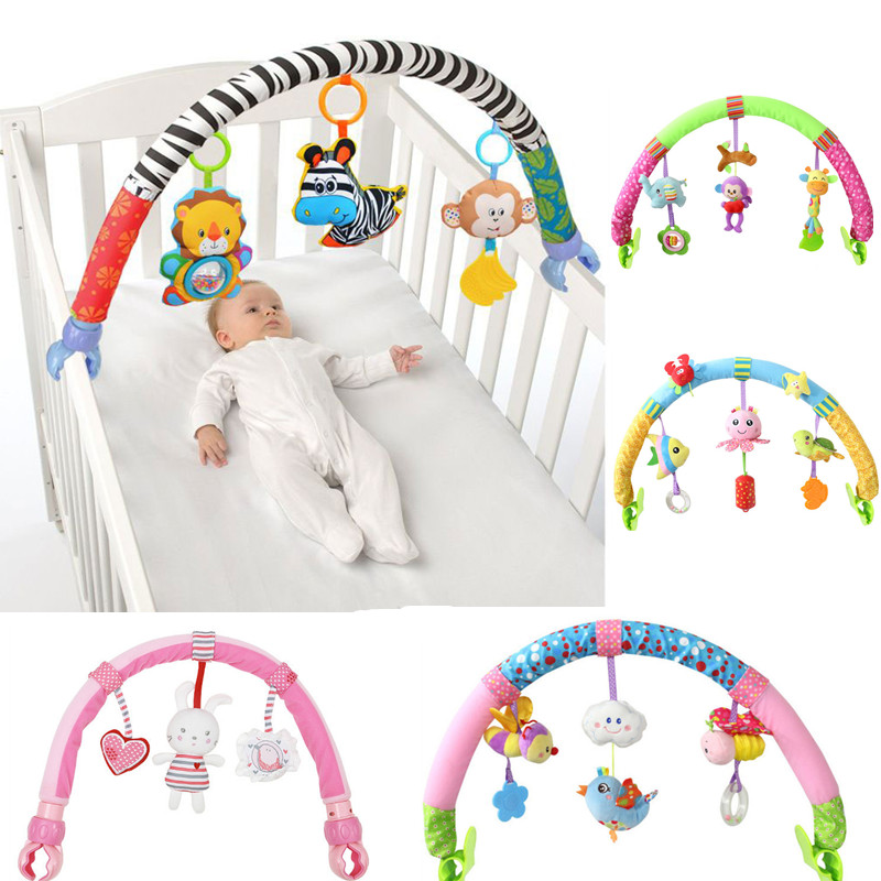 Baby Infant Stroller Toys 0-12 Month For Kids Cute Newborn Hanging Baby Rattle Mobile Ring Bed Bell Soft Bed Pram Baby Music Toy