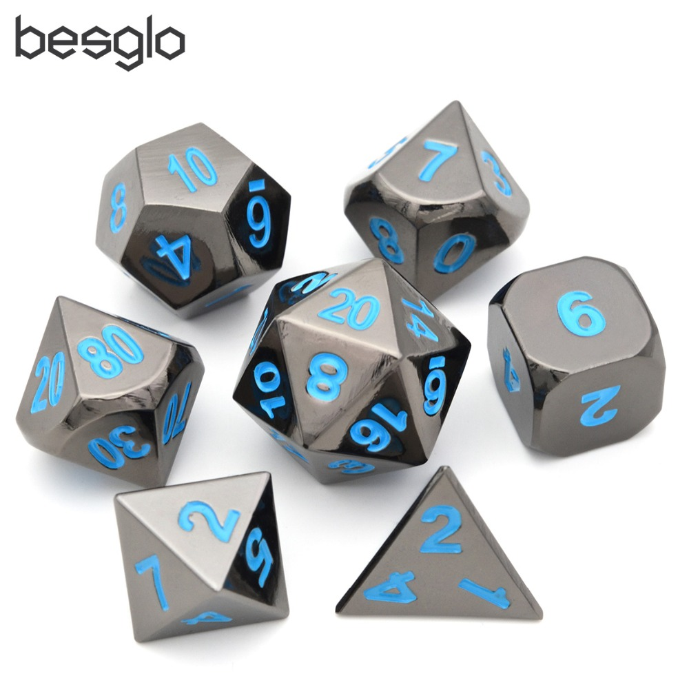 Metal Dice Set Of 7 Black Polyhedral Dice With Blue Lettering For RPG MTG Math Teaching D4 D6 D8 D10 D% D12 D20