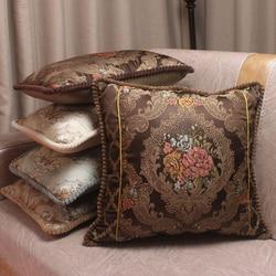 CURCYA Luxury Tribute Silk Jacquard Decorative Cushion Covers / Floral European Style Vintage Satin Waist Pillow Covers for Sofa