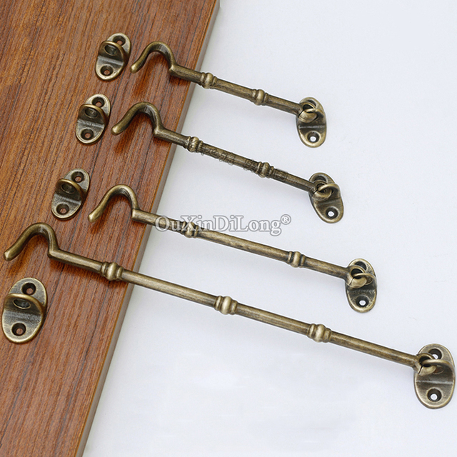 Retro Vintage 10pcs Brass Cabin Hooks And Eye Latch Lock Shed Gate