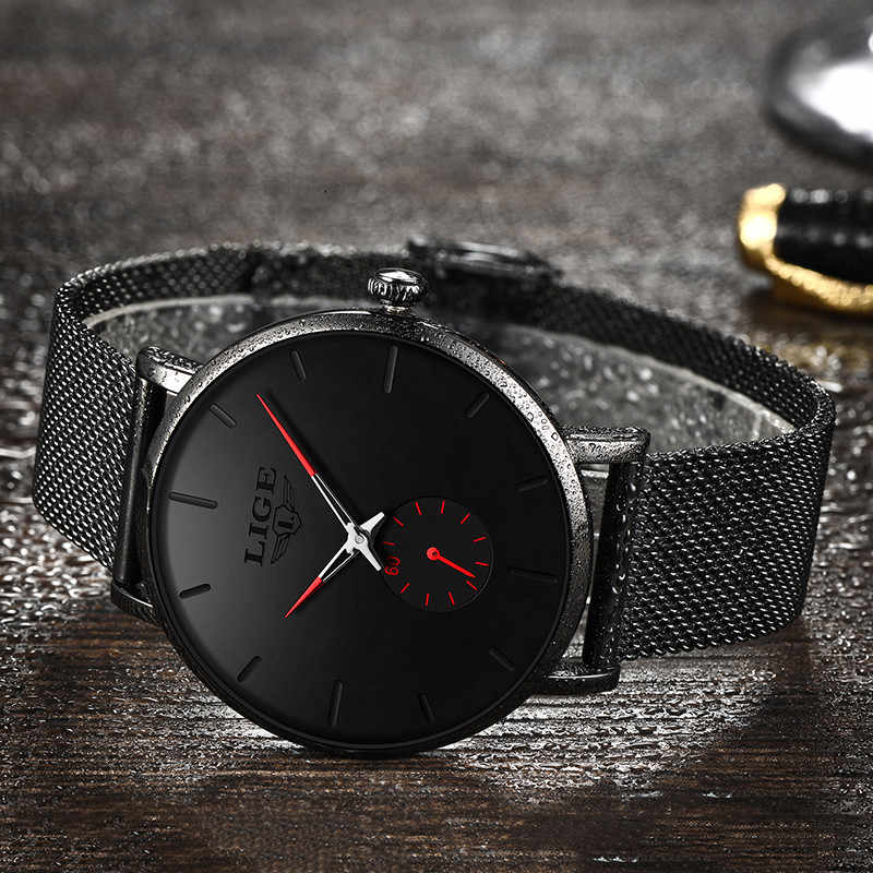 LIGE2019 NEW Men's Watch Analog Quartz Watch Men Sports Waterproof stainless steel Shockproof Clock Men's elegant watch