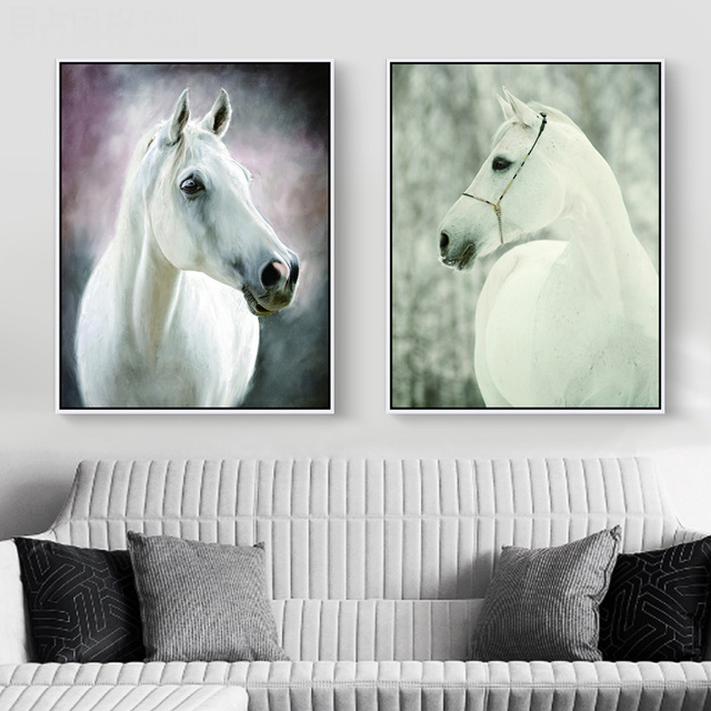 No Framed little white horse Animals Landscape DIY Painting Drawing ...