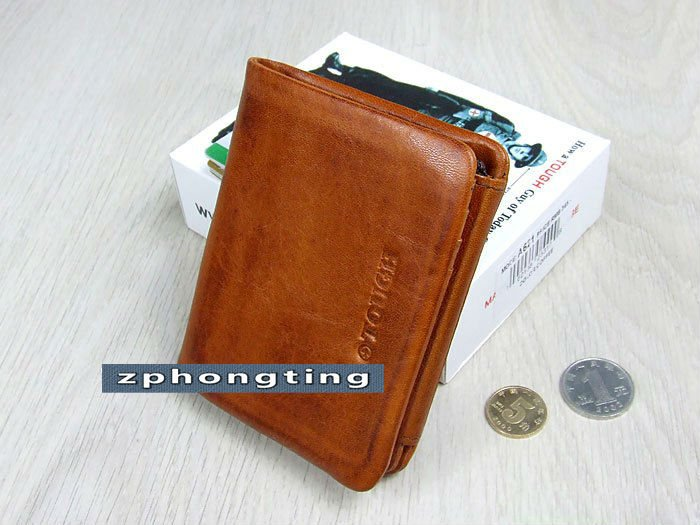 b3415a07c72a  Free Shipping  New Tough Punk Leather Brown Mens TriFold Wallet A 621