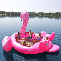 Hot Sale 6 Person Huge Flamingo Pool Float Giant Inflatable Flamingo Swimming Pool Island Lounge Beach Pool Party Floating Boat