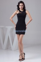 Free Shipping 2013 New Design Knee Length Formal Gown Elie Saab Custom Size Color Black Sexy
