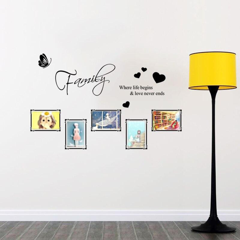 Familia donde la vida comienza y el amor nunca termina cartas arte de la pared m