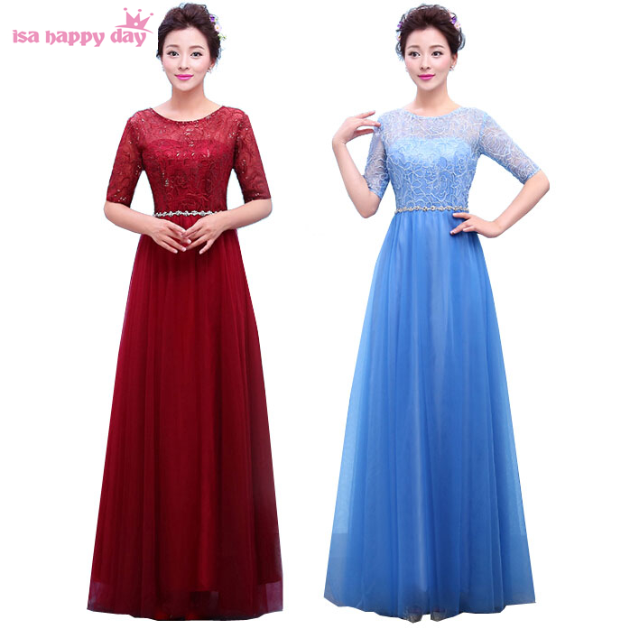 Fashion Long Elegant Size 8 Blue Tulle Bridesmaid Floor Length Bridesmaides Lace Sleeve Women Party Dress Adult 2019 B3766