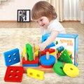 Formas de Coluna de madeira Placa De Classificação Geométrica Blocos Montessori Preschool Educacional Empilhamento Brinquedos Do Bebê Blocos de Construção