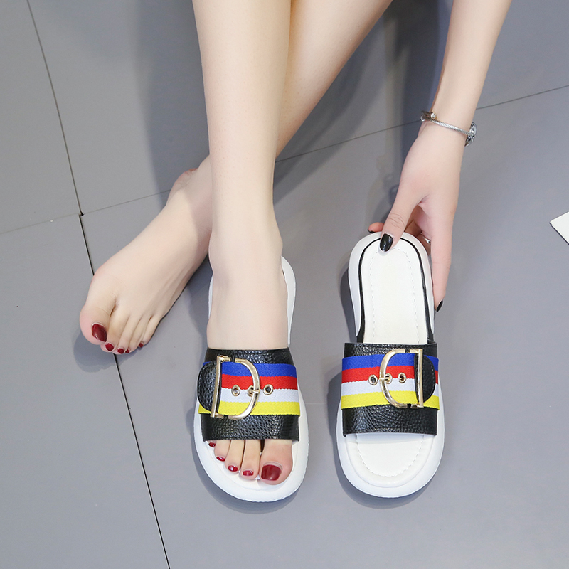 HKJL Slipper lady 2019 summer new thick bottom slipper slipper small and fresh spell color beach shoes A148 in Slippers from Shoes