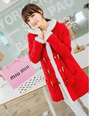 Новинка 2017 года Зима Для женщин свитер пальто с длинным рукавом Чистый цвет Однобортный с капюшоном вязаный женский кардиган Теплый Тонкий L149