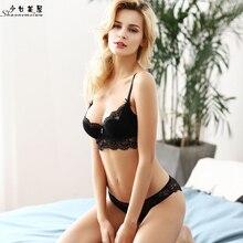 shaonvmeiwu Thin sexy eyelash lace bra set sheer underwear size bra cotton pads to prevent bump lace penel mesh sheer bra set