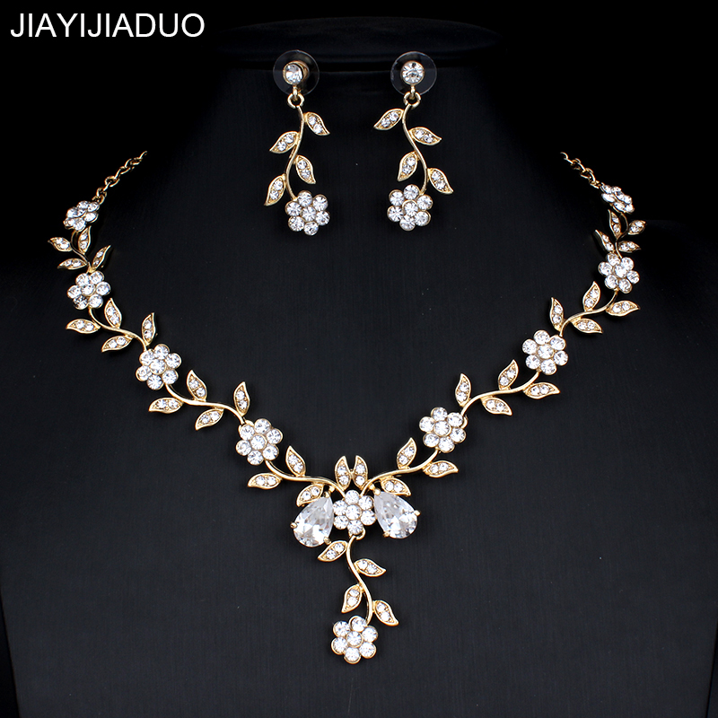 jiayijiaduo Classic Bridal Jewellery Sets for Women's Dresses Accessories Cubic Necklace Earrings Set Gold Color Wedding Dresses(China)