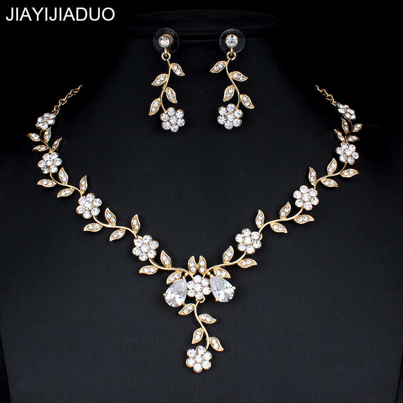 Jiayijiaduo คลาสสิกเจ้าสาวชุดเครื่องประดับสำหรับสตรีชุดอุปกรณ์เสริม Cubic สร้อยคอชุดต่างหูทองสีชุดแต่งงาน
