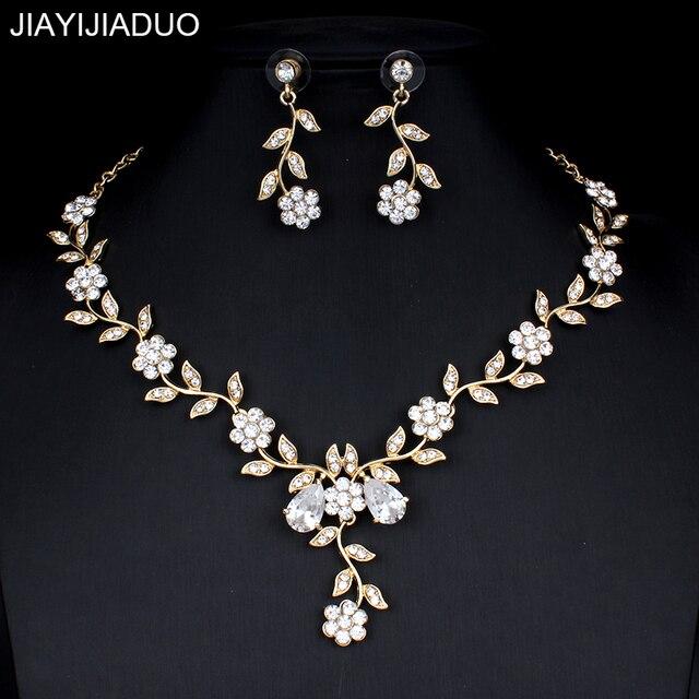 Jiayijiaduo Klassische Braut Schmuck Sets für frauen Kleider Zubehör Cubic Halskette Ohrringe Set Gold Farbe Hochzeit Kleider