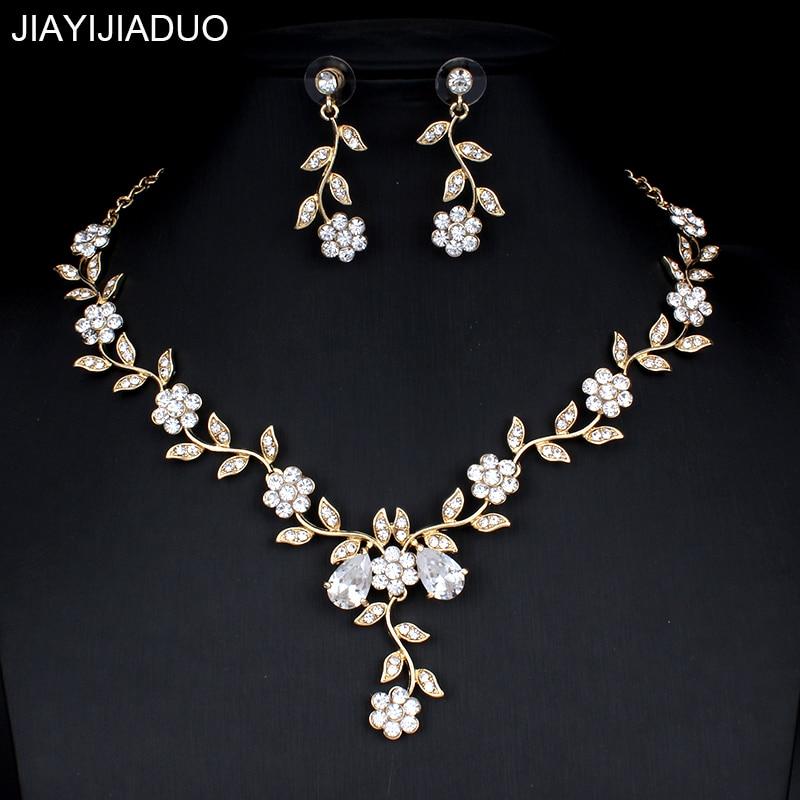 Jiayijiaduo קלאסי כלה תכשיטי סטים לנשים של שמלות אביזרי מעוקב שרשרת עגילי סט זהב צבע שמלות כלה