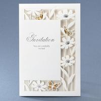 50pcs Pack New Design White Luxury Flora Butterfly Wedding Invitations Sample Elegant Birthday Party Decorations Card