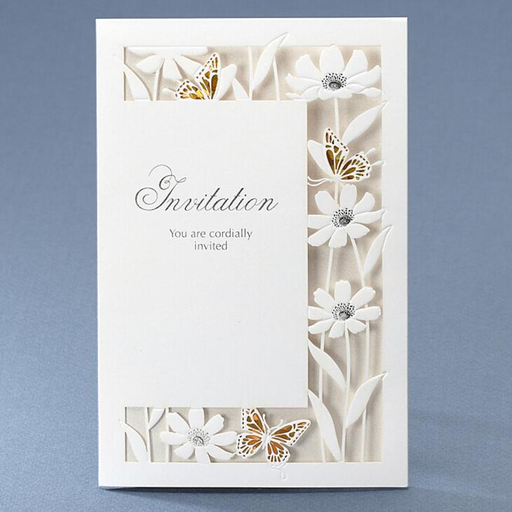 50pcs/pack New Design White Luxury Flora Butterfly Wedding Invitations  Sample Elegant Birthday Party Decorations