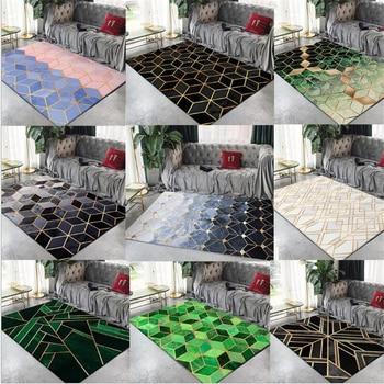 AOVOLL שטיחים שטיח סלון בית חדר מודרני עיצוב מודרני נורדי כבד מתכת גיאומטרי זהב קו שינה אזור שטיחים מחצלות