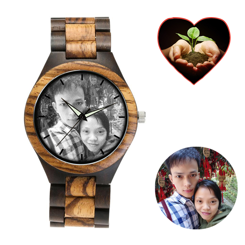 zebra wooden band watch color tree