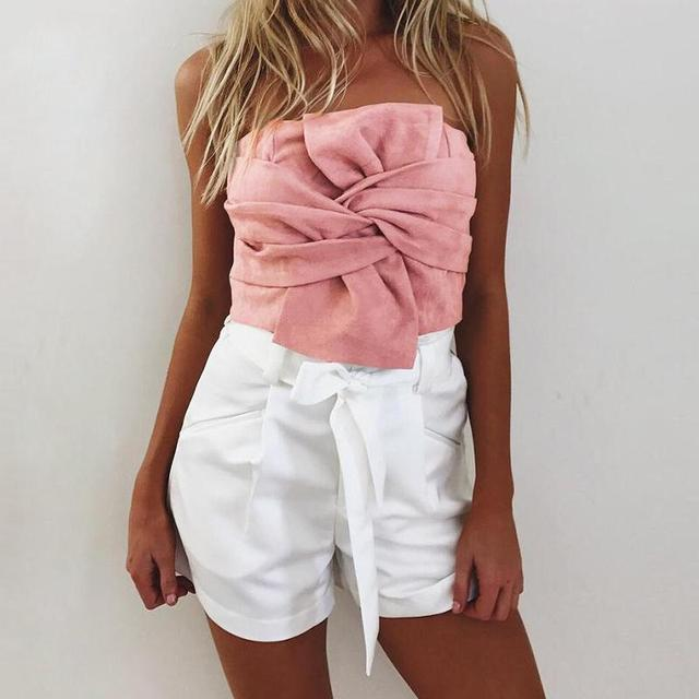 cd83e14f61ba4 Women Sexy Suede Cropp Top 2018 Spring Bow Slash Neck Sleeveless Back Zip  Cropped Tube Tops Autumn Pink Gothic Bandage Bustier