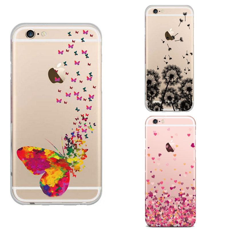 2016 Time-limited Limited Phone Case Cover for Iphone 6 6s 4.7Inch Ultra Butterfly Feather Reassuring Image Soft Tpu Transparent