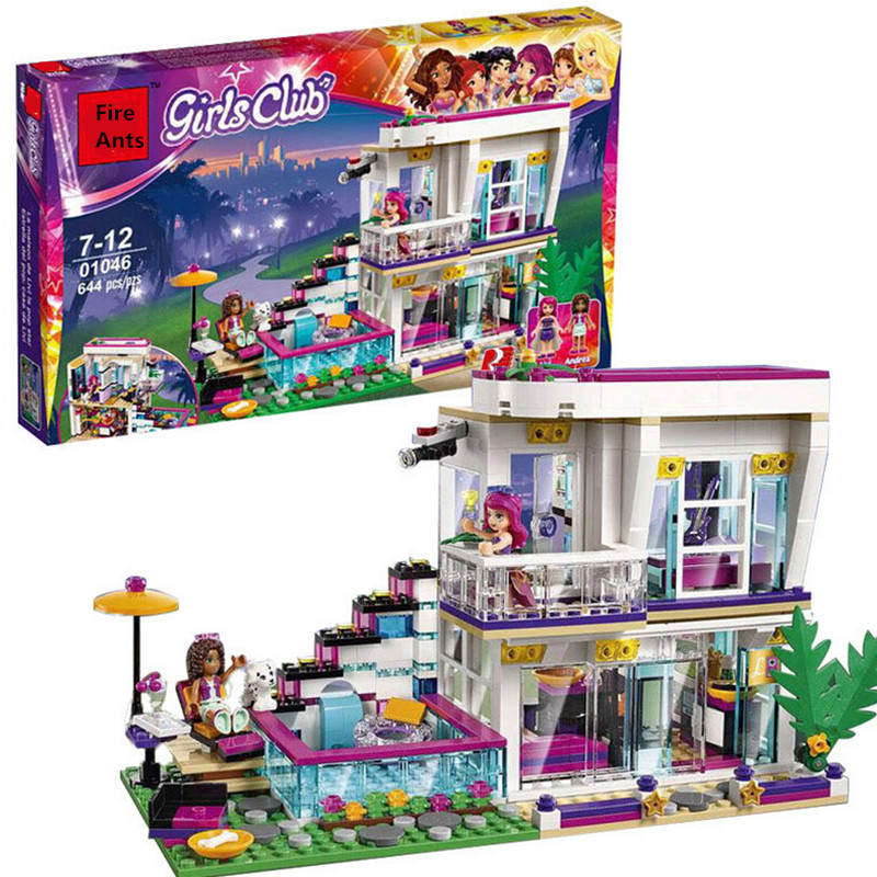 644 Pcs Lepin Pop Star Livi's House Bricks Building Blocks Girl Series Toys For Children Compatible with Legoingly 41135 gonlei 10407 friends pop star tour bus building blocks sets bricks toys girl game house gift compatible with