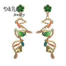 цена на Long Flower Dangle Earrings Hanging Chain Bird Jewelry Enamel Alloy Colorful spiral Wave Drop Earring for Women Dress Girls