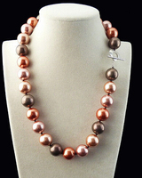FREE SHIPPINGRare Huge Mix Colors 14mm South Sea Shell Pearl Heart Clasp Necklace 18 AAA
