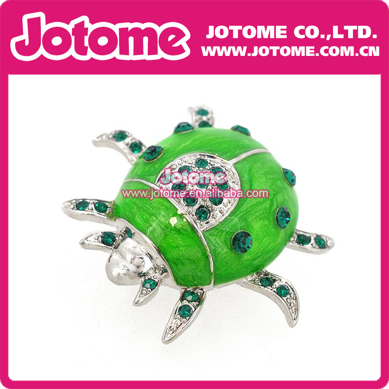 Wonderful 100pcs/ Small Size Green Crystal Rhinstone Silver Tone And Enamel Green  Lovely Beetle Brooch Ladybug Beetle Insect Brooch Pin