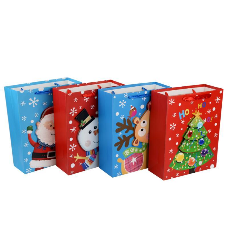 Christmas Gift Packing: 12pcs/lot 3D Cartoon Tote Bag Creative Christmas Gift