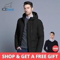 26844afbd06 ICEbear 2018 Новинка простая зимняя мужская куртка модная куртка со съемным  капюшоном трикотажный манжет на теплом