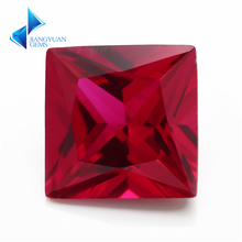 Factory Price Size 2x2~12x12mm Square Cut 5# Red Stone Princess Cut Synthetic Corundum Gems stone For jewelry