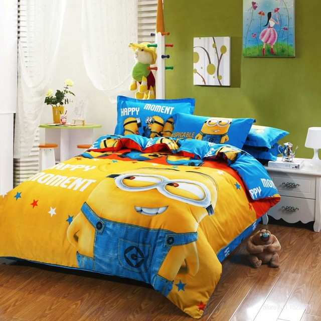 100 Cotton Minion Bedding Sets Kids Pink Bedspreads Cartoon Bedclothes Duvet Cover Set Bed Sheets