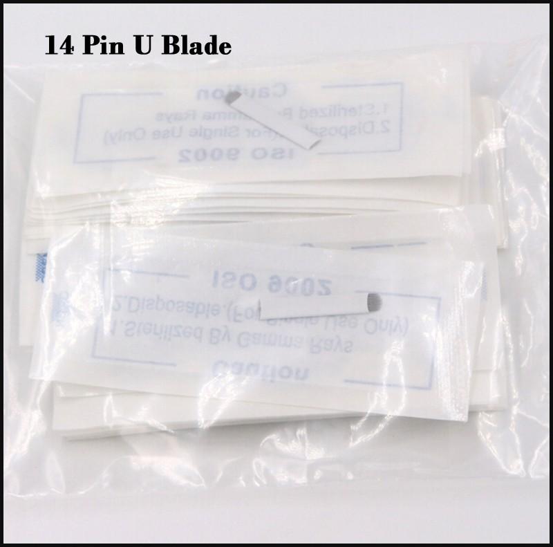 100 pcs 14 pin U makeup blade microblading needles u 14 pin permanent makeup eyebrow tattoo needles with Lot No. Expiry Date 3